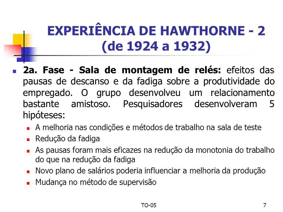 TO-057 EXPERIÊNCIA DE HAWTHORNE - 2 (de 1924 a 1932) 2a. Fase - Sala de montagem de relés: efeitos das pausas de descanso e da fadiga sobre a produtiv