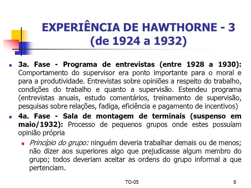 TO-058 EXPERIÊNCIA DE HAWTHORNE - 3 (de 1924 a 1932) 3a. Fase - Programa de entrevistas (entre 1928 a 1930): Comportamento do supervisor era ponto imp
