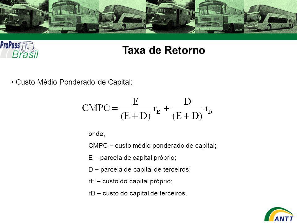 Taxa de Retorno Custo Médio Ponderado de Capital: onde, CMPC – custo médio ponderado de capital; E – parcela de capital próprio; D – parcela de capita