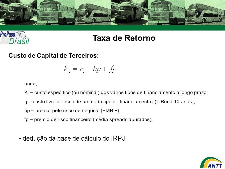Taxa de Retorno Custo de Capital de Terceiros: onde, Kj – custo específico (ou nominal) dos vários tipos de financiamento a longo prazo; rj – custo li