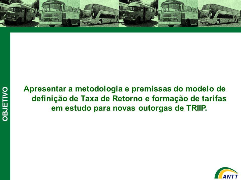 OBJETIVO Apresentar a metodologia e premissas do modelo de definição de Taxa de Retorno e formação de tarifas em estudo para novas outorgas de TRIIP.