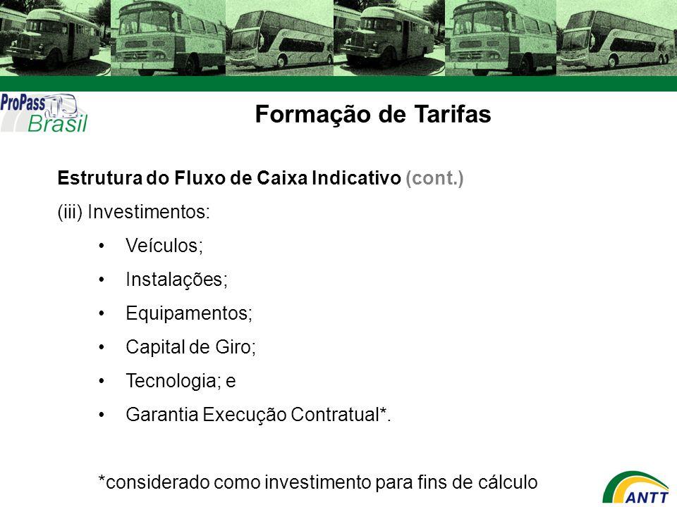 Formação de Tarifas Estrutura do Fluxo de Caixa Indicativo (cont.) (iii) Investimentos: Veículos; Instalações; Equipamentos; Capital de Giro; Tecnolog