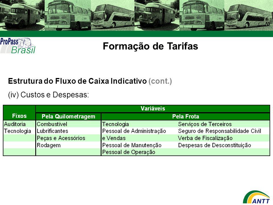 Formação de Tarifas Estrutura do Fluxo de Caixa Indicativo (cont.) (iv) Custos e Despesas: