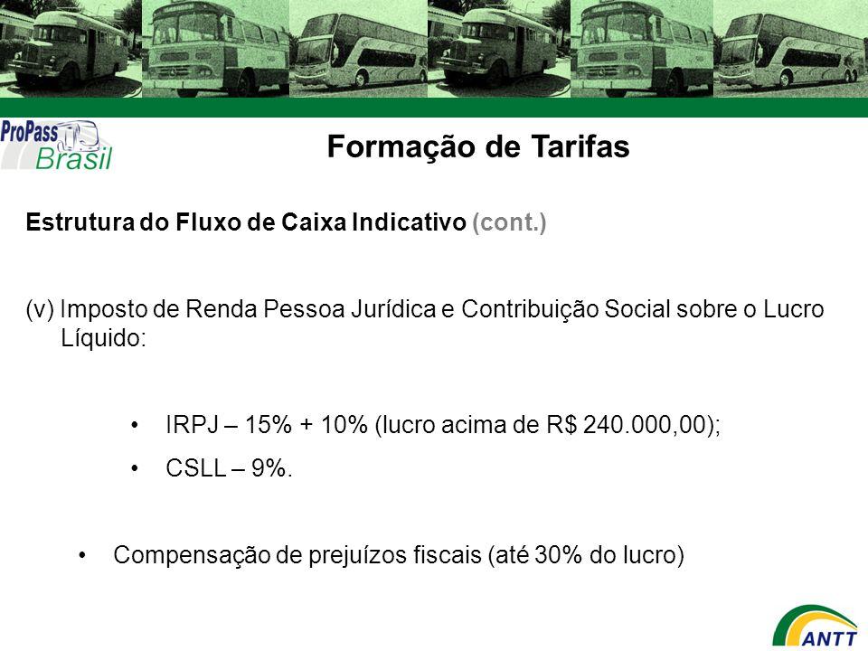 Formação de Tarifas Estrutura do Fluxo de Caixa Indicativo (cont.) (v) Imposto de Renda Pessoa Jurídica e Contribuição Social sobre o Lucro Líquido: I