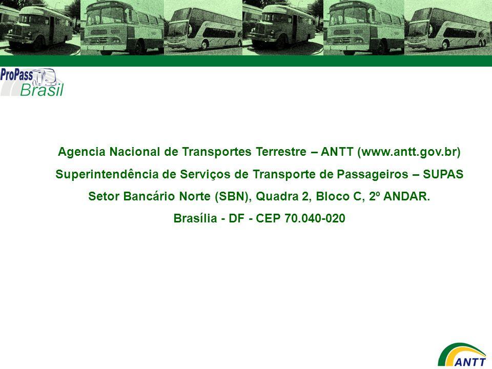 Agencia Nacional de Transportes Terrestre – ANTT (www.antt.gov.br) Superintendência de Serviços de Transporte de Passageiros – SUPAS Setor Bancário No