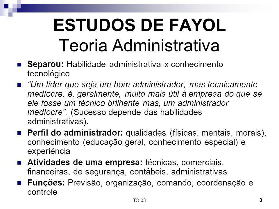 TO-033 ESTUDOS DE FAYOL Teoria Administrativa Separou: Habilidade administrativa x conhecimento tecnológico Um líder que seja um bom administrador, ma