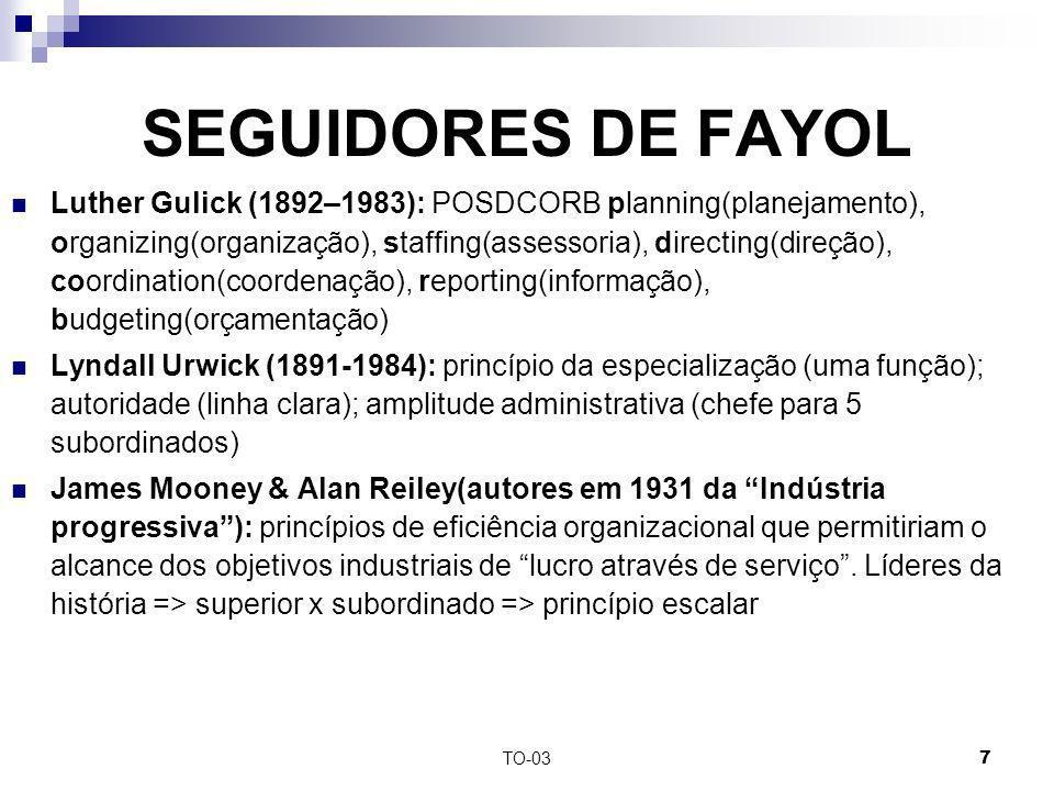 TO-037 SEGUIDORES DE FAYOL Luther Gulick (1892–1983): POSDCORB planning(planejamento), organizing(organização), staffing(assessoria), directing(direçã