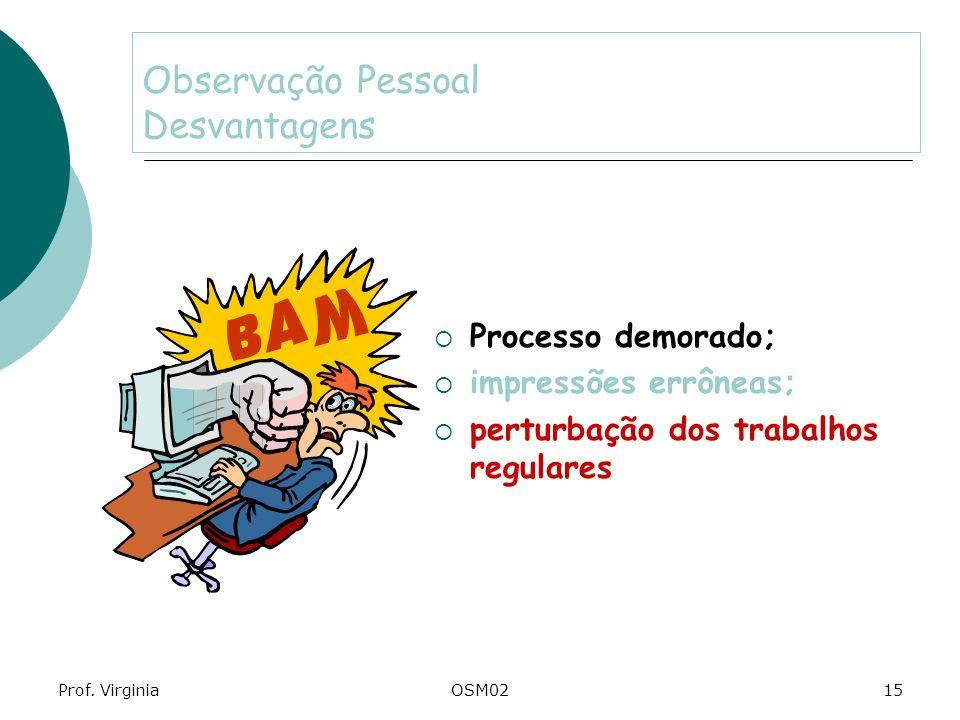 Prof. VirginiaOSM0215 Observação Pessoal Desvantagens Processo demorado; impressões errôneas; perturbação dos trabalhos regulares