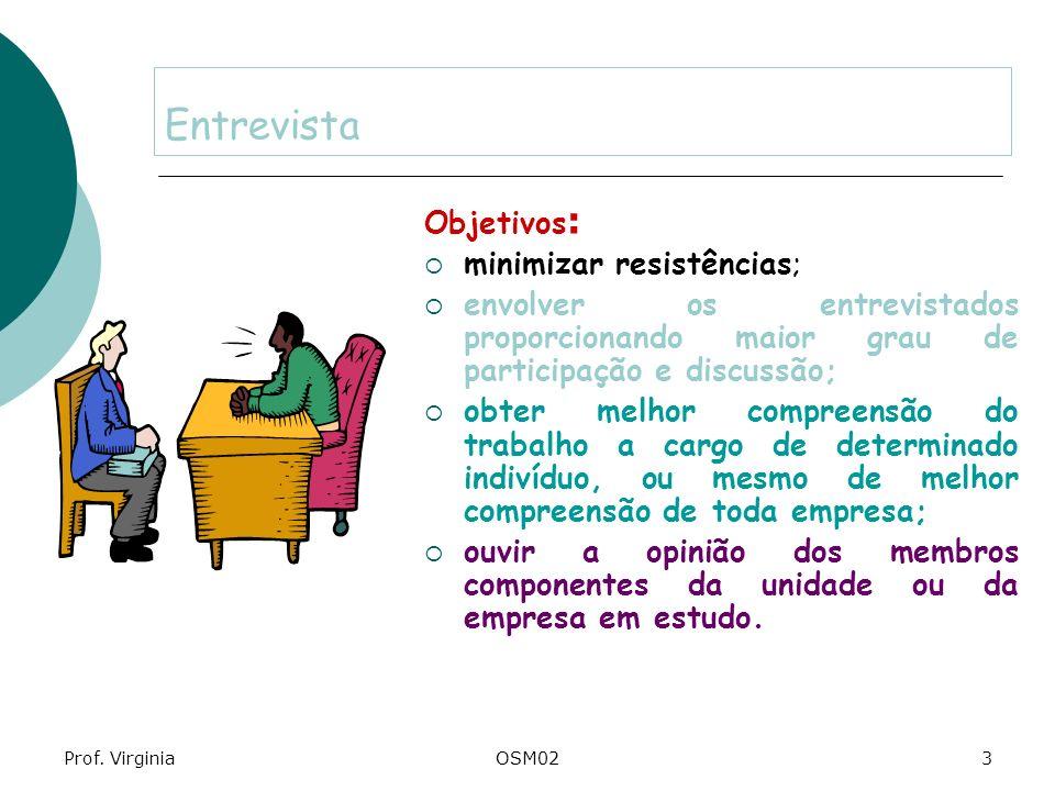 Prof. VirginiaOSM023 Entrevista Objetivos : minimizar resistências; envolver os entrevistados proporcionando maior grau de participação e discussão; o