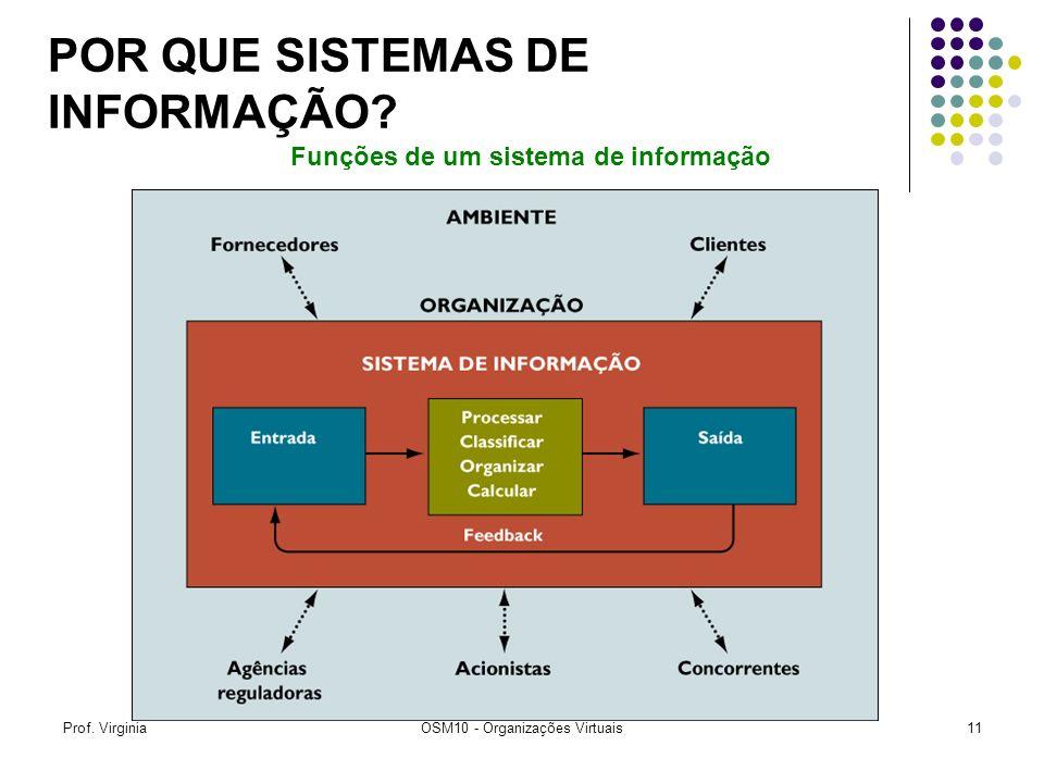 Prof. VirginiaOSM10 - Organizações Virtuais11 Funções de um sistema de informação POR QUE SISTEMAS DE INFORMAÇÃO?