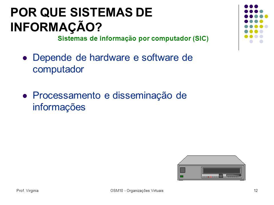 Prof. VirginiaOSM10 - Organizações Virtuais12 Depende de hardware e software de computador Processamento e disseminação de informações Sistemas de inf