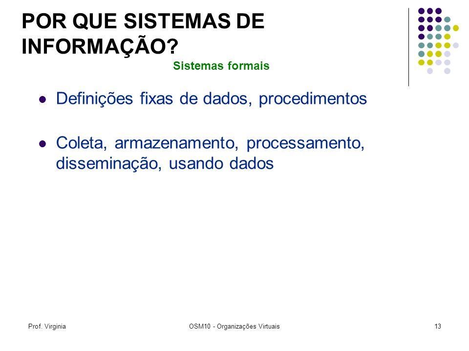 Prof. VirginiaOSM10 - Organizações Virtuais13 Definições fixas de dados, procedimentos Coleta, armazenamento, processamento, disseminação, usando dado