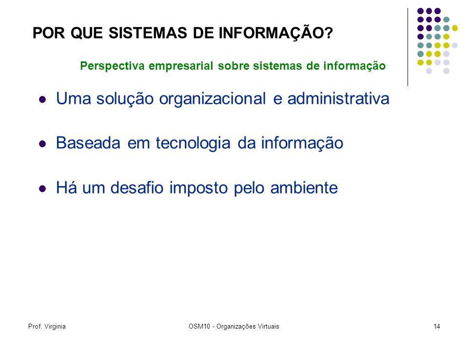 Prof. VirginiaOSM10 - Organizações Virtuais14 Uma solução organizacional e administrativa Baseada em tecnologia da informação Há um desafio imposto pe