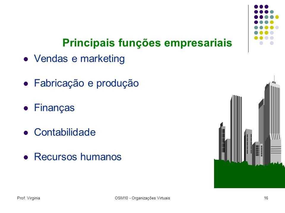 Prof. VirginiaOSM10 - Organizações Virtuais16 Vendas e marketing Fabricação e produção Finanças Contabilidade Recursos humanos Principais funções empr
