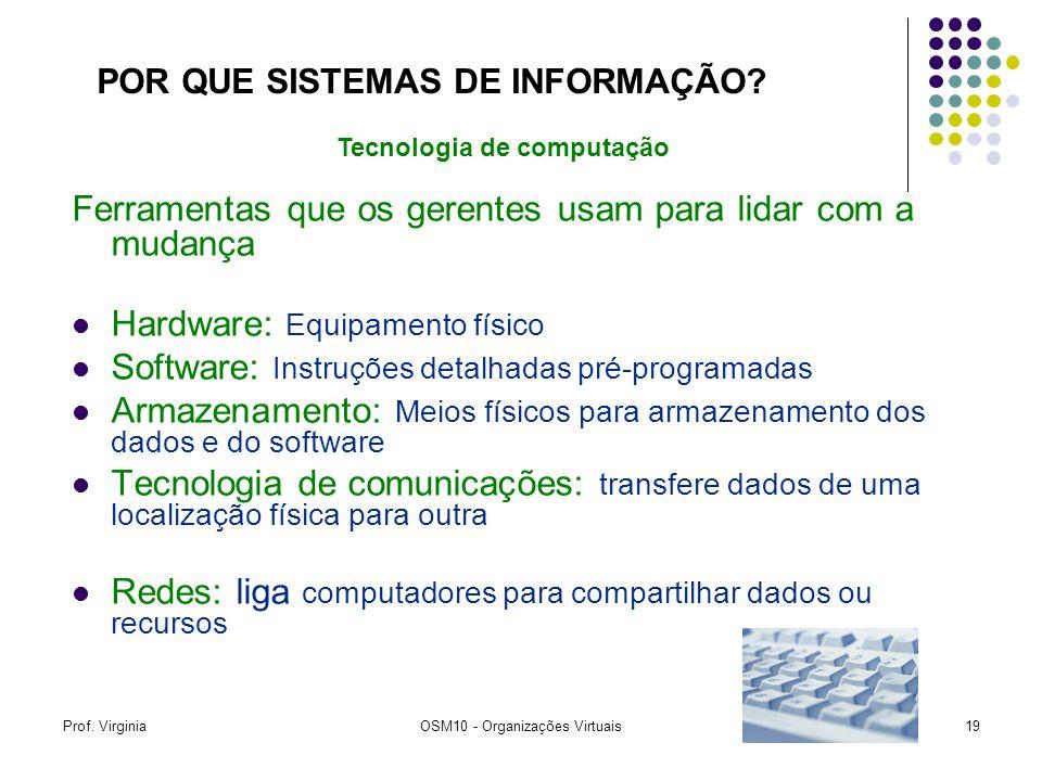 Prof. VirginiaOSM10 - Organizações Virtuais19 Ferramentas que os gerentes usam para lidar com a mudança Hardware: Equipamento físico Software: Instruç