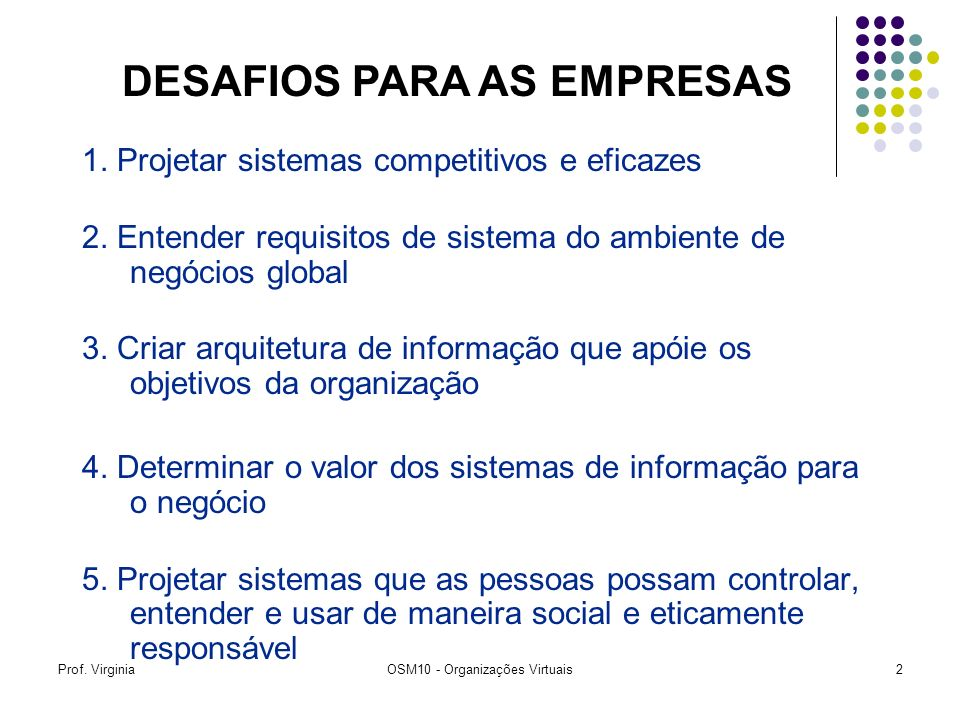 Prof. VirginiaOSM10 - Organizações Virtuais2 1. Projetar sistemas competitivos e eficazes 2. Entender requisitos de sistema do ambiente de negócios gl