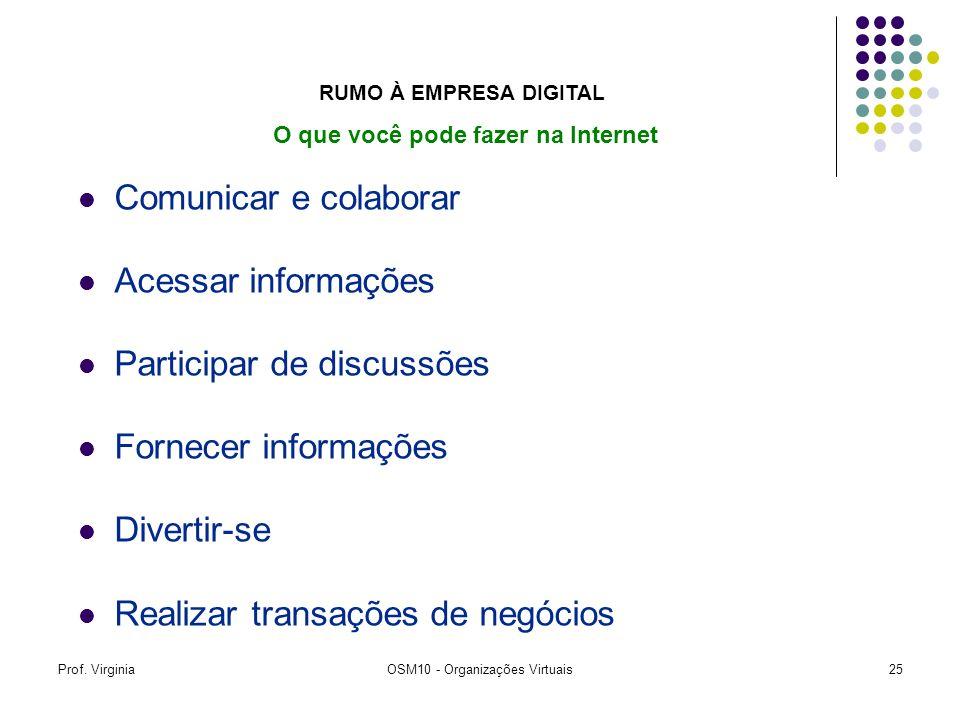 Prof. VirginiaOSM10 - Organizações Virtuais25 Comunicar e colaborar Acessar informações Participar de discussões Fornecer informações Divertir-se Real