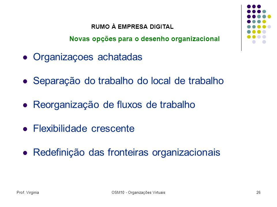 Prof. VirginiaOSM10 - Organizações Virtuais26 Organizaçoes achatadas Separação do trabalho do local de trabalho Reorganização de fluxos de trabalho Fl