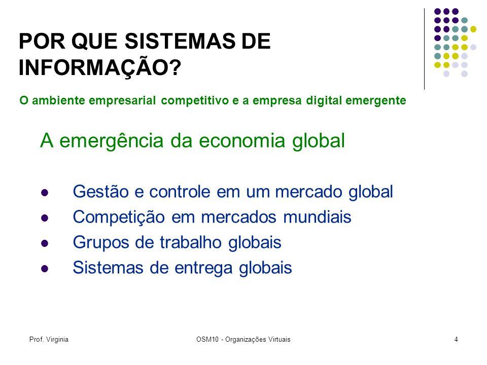 Prof. VirginiaOSM10 - Organizações Virtuais4 A emergência da economia global Gestão e controle em um mercado global Competição em mercados mundiais Gr