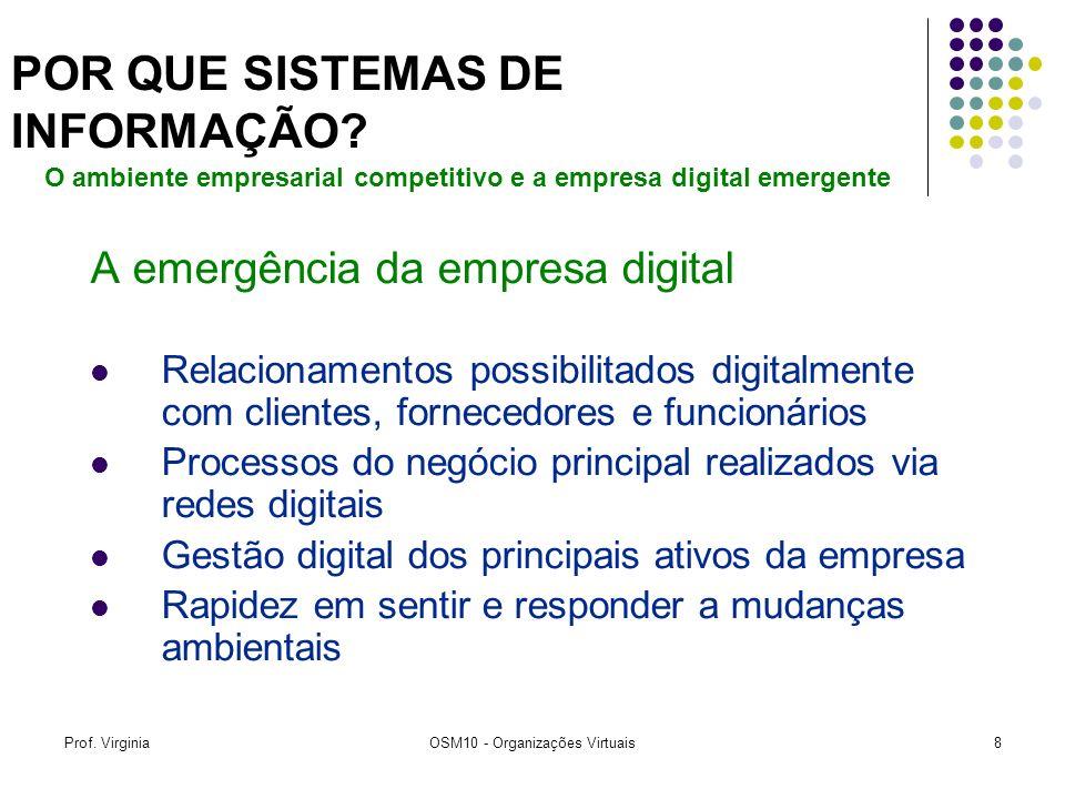 Prof. VirginiaOSM10 - Organizações Virtuais8 A emergência da empresa digital Relacionamentos possibilitados digitalmente com clientes, fornecedores e