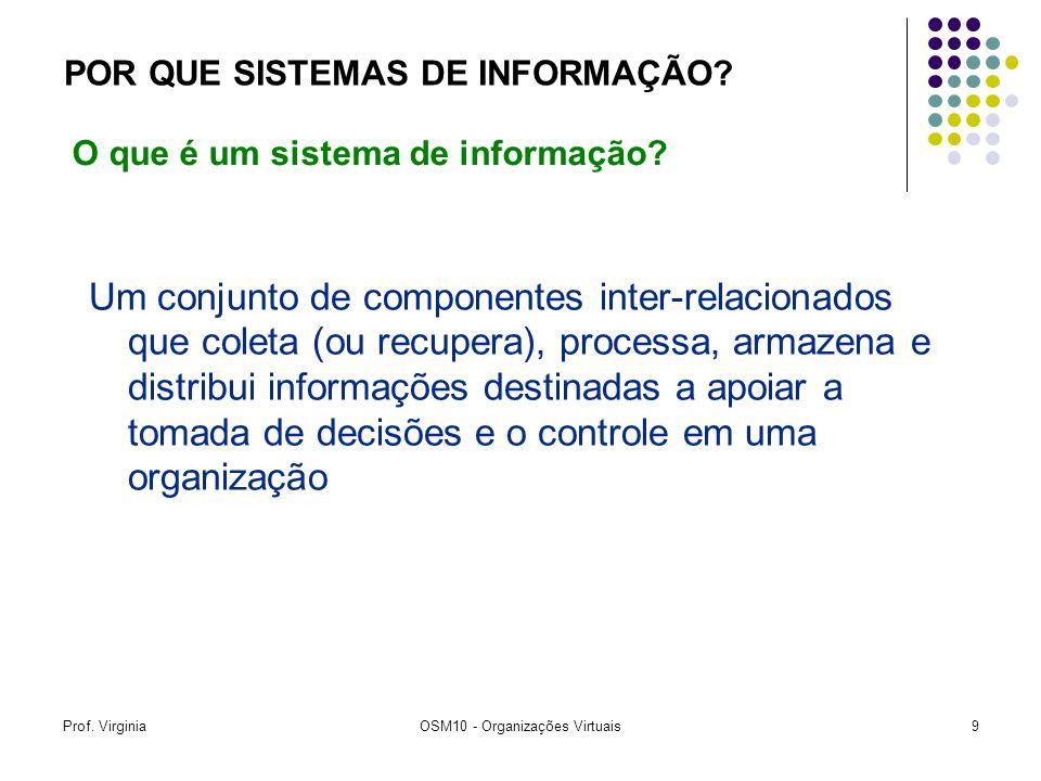 Prof. VirginiaOSM10 - Organizações Virtuais9 Um conjunto de componentes inter-relacionados que coleta (ou recupera), processa, armazena e distribui in