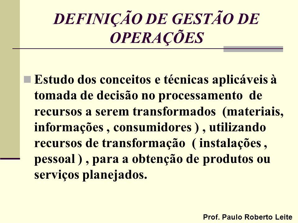 Prof. Paulo Roberto Leite DEFINIÇÃO DE GESTÃO DE OPERAÇÕES Estudo dos conceitos e técnicas aplicáveis à tomada de decisão no processamento de recursos