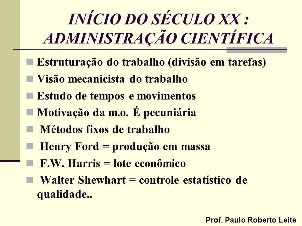Prof. Paulo Roberto Leite INÍCIO DO SÉCULO XX : ADMINISTRAÇÃO CIENTÍFICA Estruturação do trabalho (divisão em tarefas) Visão mecanicista do trabalho E