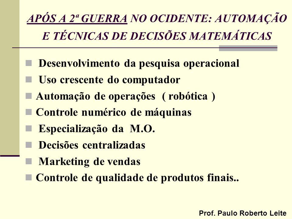 Prof. Paulo Roberto Leite APÓS A 2ª GUERRA NO OCIDENTE: AUTOMAÇÃO E TÉCNICAS DE DECISÕES MATEMÁTICAS Desenvolvimento da pesquisa operacional Uso cresc