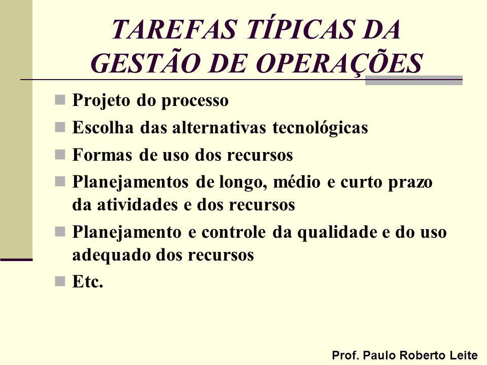 Prof. Paulo Roberto Leite TAREFAS TÍPICAS DA GESTÃO DE OPERAÇÕES Projeto do processo Escolha das alternativas tecnológicas Formas de uso dos recursos