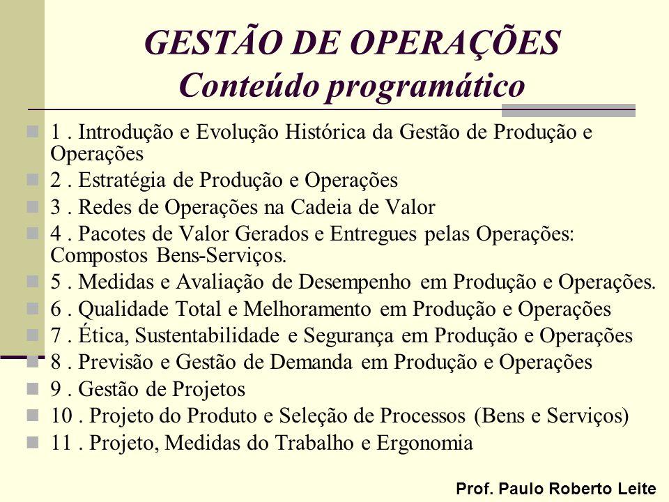 Prof. Paulo Roberto Leite GESTÃO DE OPERAÇÕES Conteúdo programático 1. Introdução e Evolução Histórica da Gestão de Produção e Operações 2. Estratégia