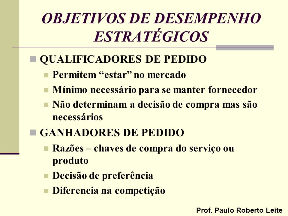 Prof. Paulo Roberto Leite OBJETIVOS DE DESEMPENHO ESTRATÉGICOS QUALIFICADORES DE PEDIDO Permitem estar no mercado Mínimo necessário para se manter for