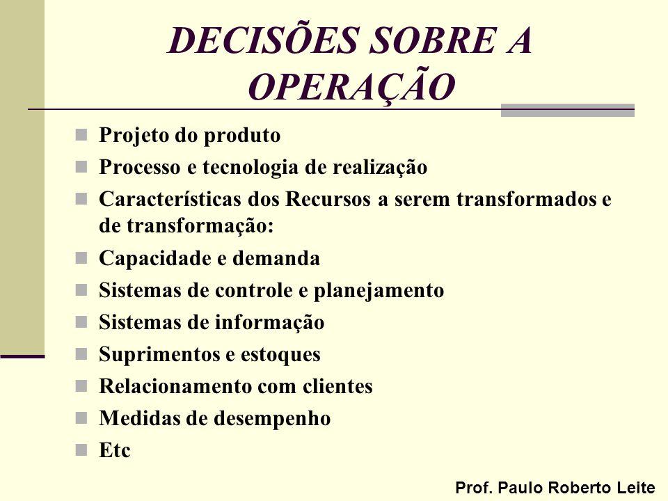 Prof. Paulo Roberto Leite DECISÕES SOBRE A OPERAÇÃO Projeto do produto Processo e tecnologia de realização Características dos Recursos a serem transf