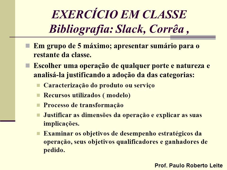 Prof. Paulo Roberto Leite EXERCÍCIO EM CLASSE Bibliografia: Slack, Corrêa, Em grupo de 5 máximo; apresentar sumário para o restante da classe. Escolhe