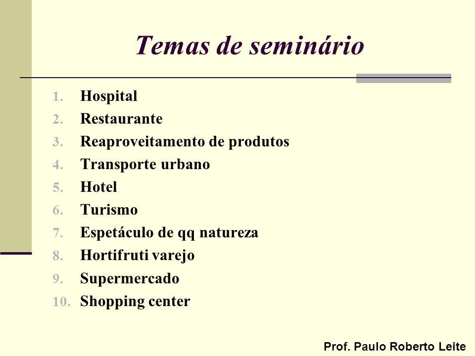 Prof. Paulo Roberto Leite Temas de seminário 1. Hospital 2. Restaurante 3. Reaproveitamento de produtos 4. Transporte urbano 5. Hotel 6. Turismo 7. Es