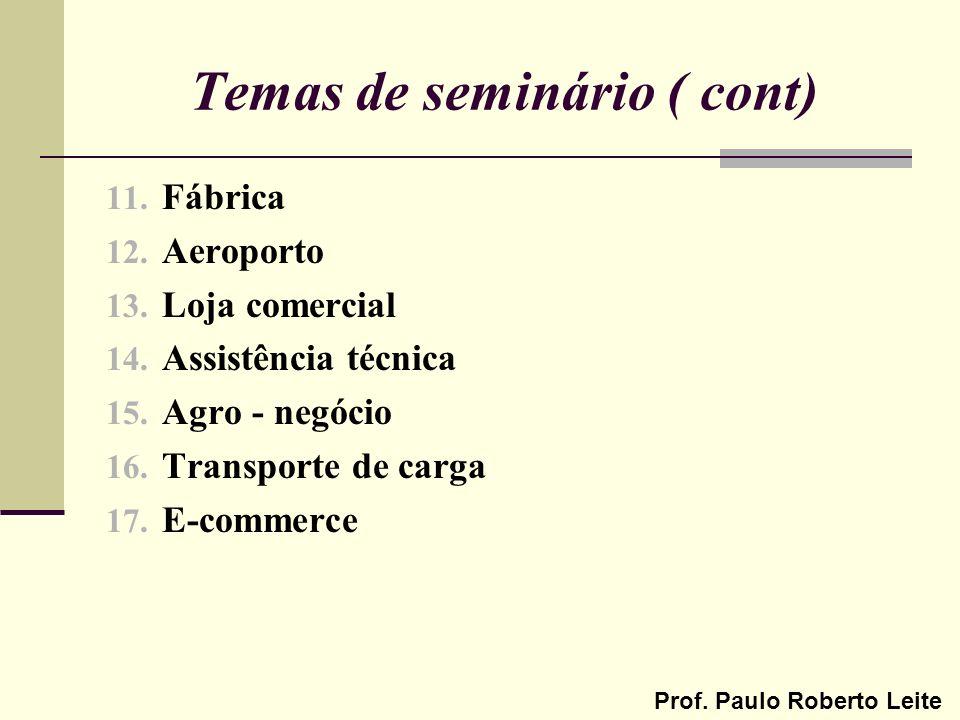 Prof. Paulo Roberto Leite Temas de seminário ( cont) 11. Fábrica 12. Aeroporto 13. Loja comercial 14. Assistência técnica 15. Agro - negócio 16. Trans