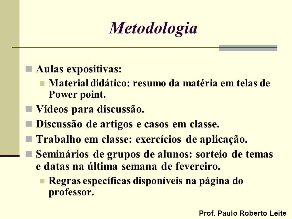 Prof. Paulo Roberto Leite Metodologia Aulas expositivas: Material didático: resumo da matéria em telas de Power point. Vídeos para discussão. Discussã