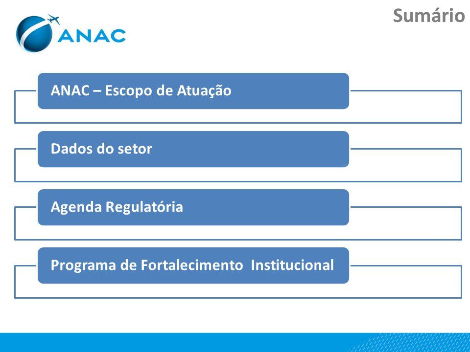 Sumário ANAC – Escopo de AtuaçãoDados do setorAgenda RegulatóriaPrograma de Fortalecimento Institucional