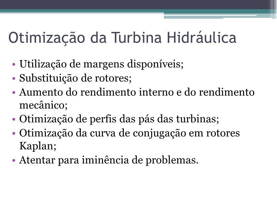 Otimização da Turbina Hidráulica Utilização de margens disponíveis; Substituição de rotores; Aumento do rendimento interno e do rendimento mecânico; O