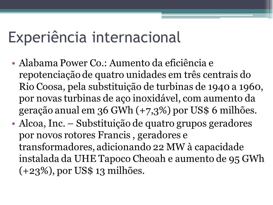 Experiência internacional Alabama Power Co.: Aumento da eficiência e repotenciação de quatro unidades em três centrais do Rio Coosa, pela substituição