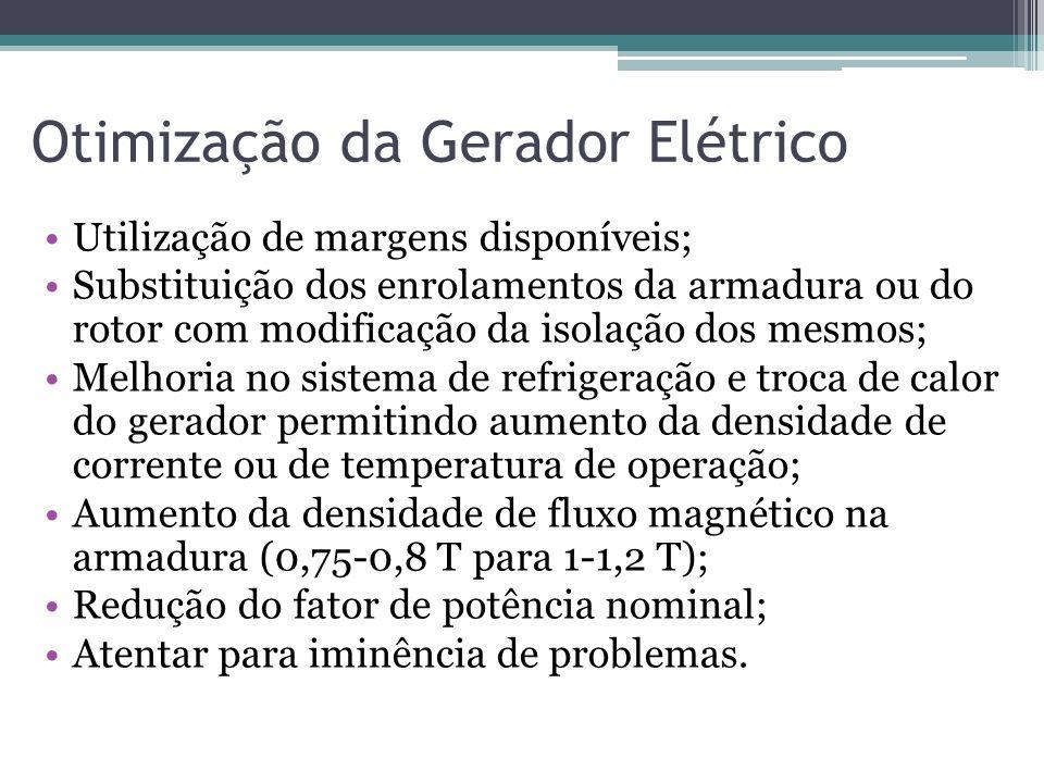 Otimização da Gerador Elétrico Utilização de margens disponíveis; Substituição dos enrolamentos da armadura ou do rotor com modificação da isolação do