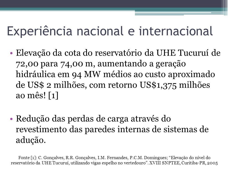 Experiência nacional e internacional Elevação da cota do reservatório da UHE Tucuruí de 72,00 para 74,00 m, aumentando a geração hidráulica em 94 MW m