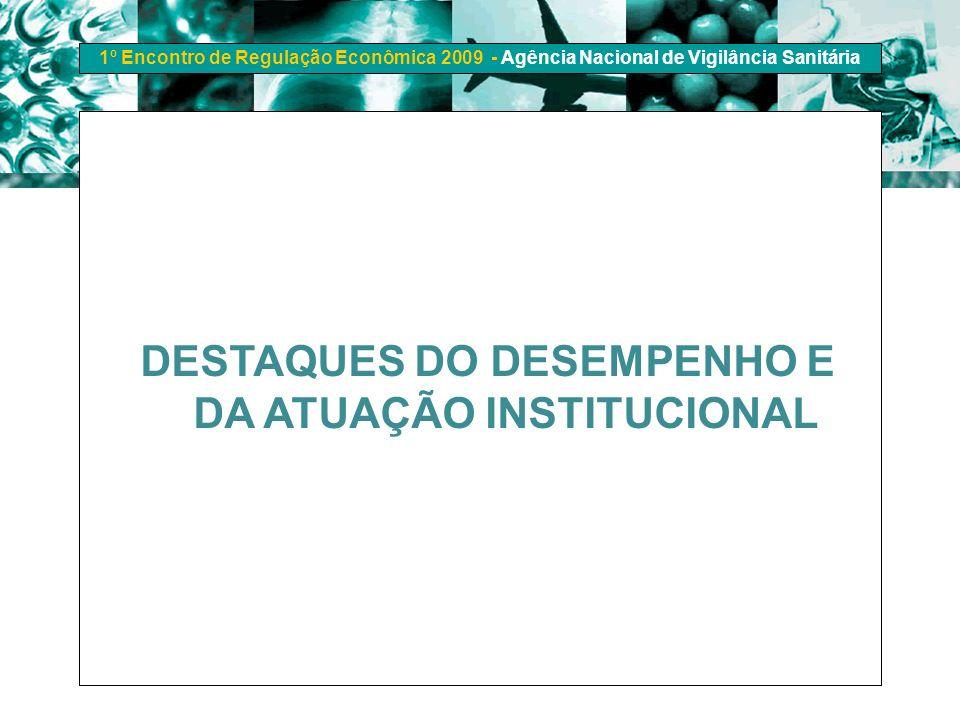 1º Encontro de Regulação Econômica 2009 - Agência Nacional de Vigilância Sanitária DESTAQUES DO DESEMPENHO E DA ATUAÇÃO INSTITUCIONAL