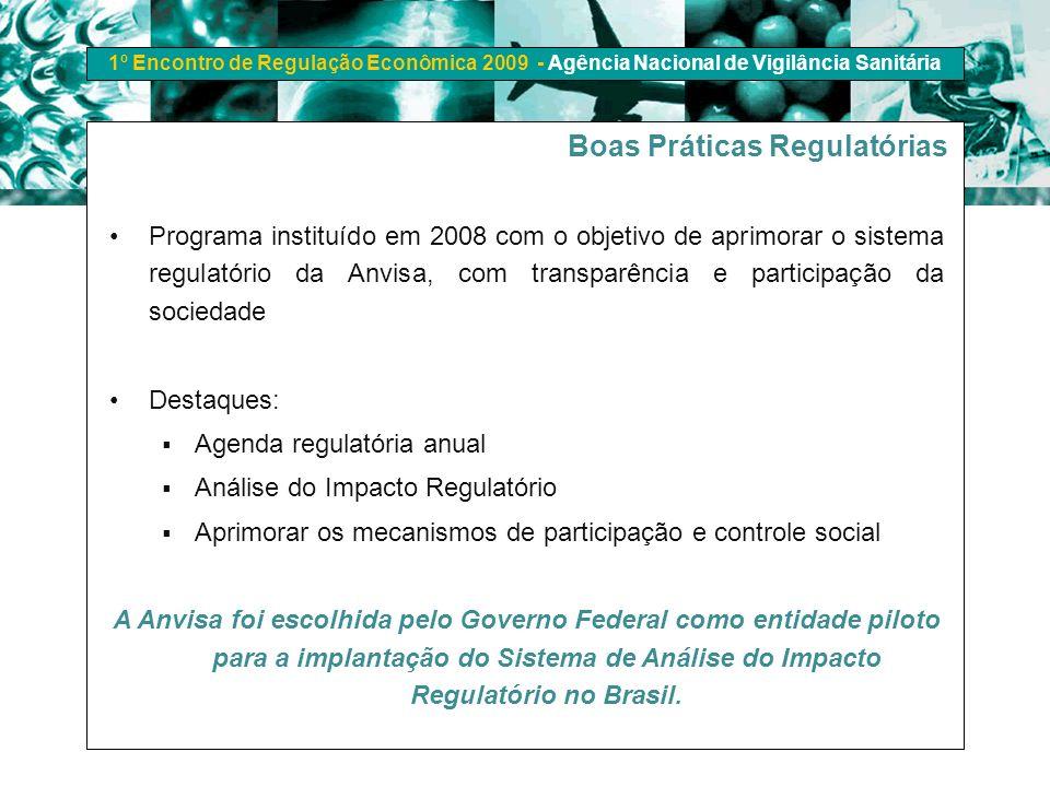 1º Encontro de Regulação Econômica 2009 - Agência Nacional de Vigilância Sanitária Boas Práticas Regulatórias Programa instituído em 2008 com o objeti