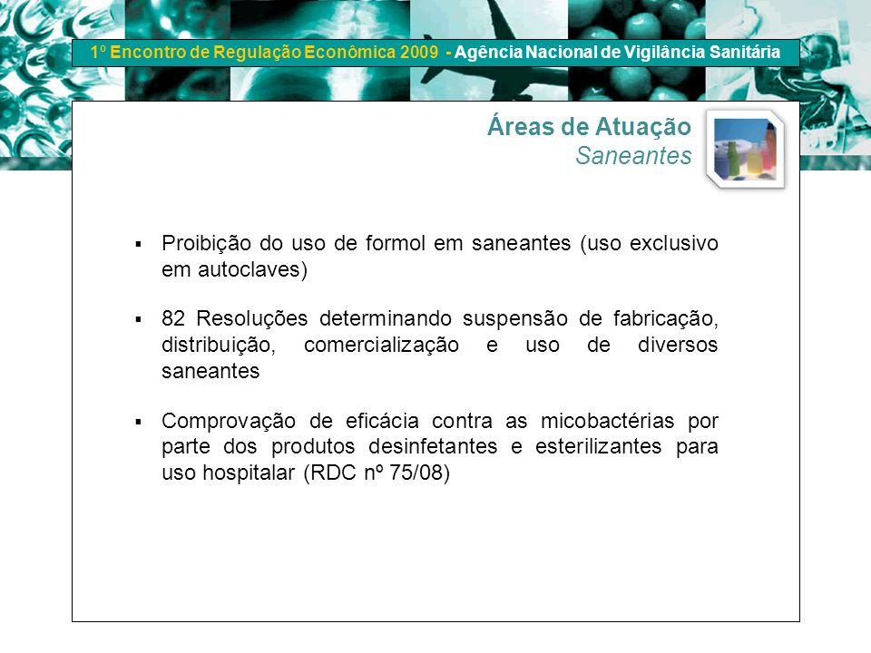 1º Encontro de Regulação Econômica 2009 - Agência Nacional de Vigilância Sanitária Áreas de Atuação Saneantes Proibição do uso de formol em saneantes