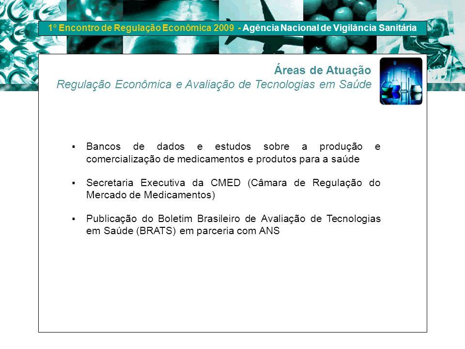 1º Encontro de Regulação Econômica 2009 - Agência Nacional de Vigilância Sanitária Áreas de Atuação Regulação Econômica e Avaliação de Tecnologias em