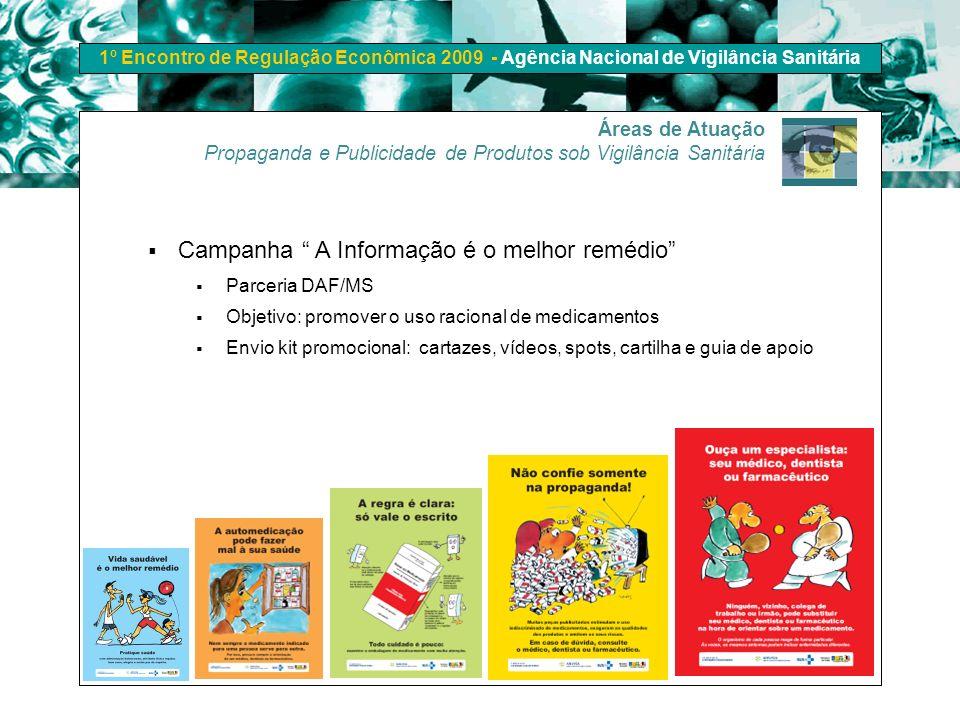 1º Encontro de Regulação Econômica 2009 - Agência Nacional de Vigilância Sanitária Campanha A Informação é o melhor remédio Parceria DAF/MS Objetivo: