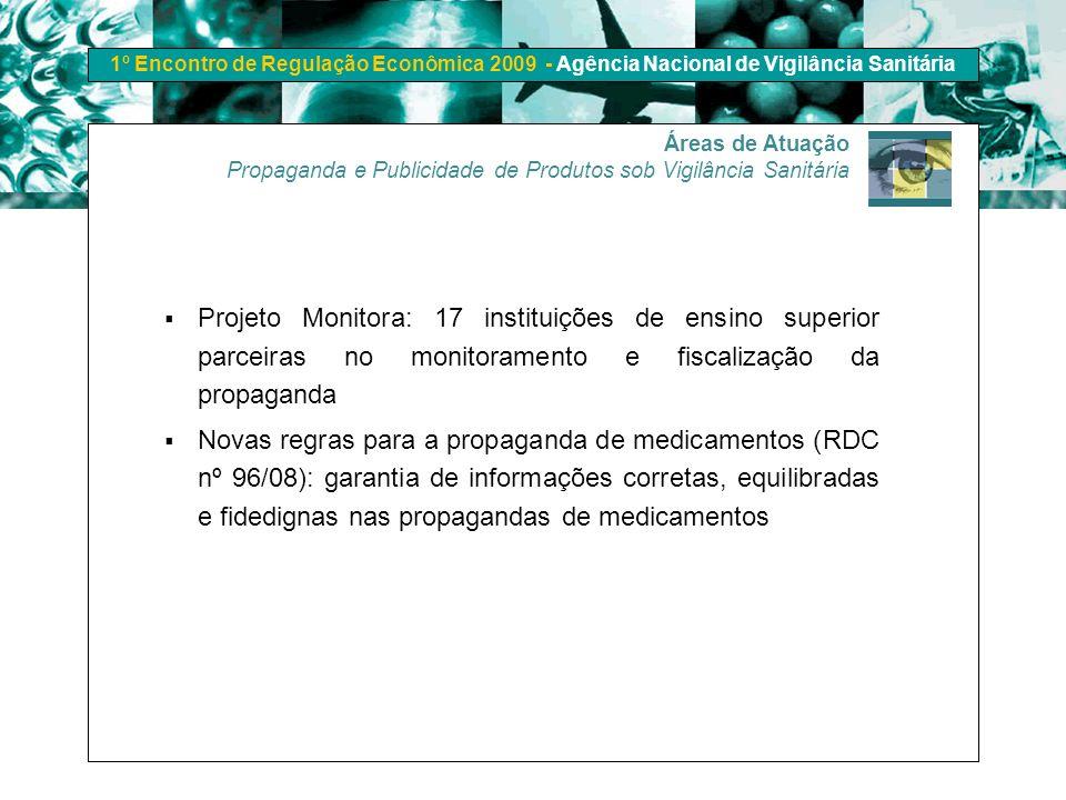 1º Encontro de Regulação Econômica 2009 - Agência Nacional de Vigilância Sanitária Áreas de Atuação Propaganda e Publicidade de Produtos sob Vigilânci