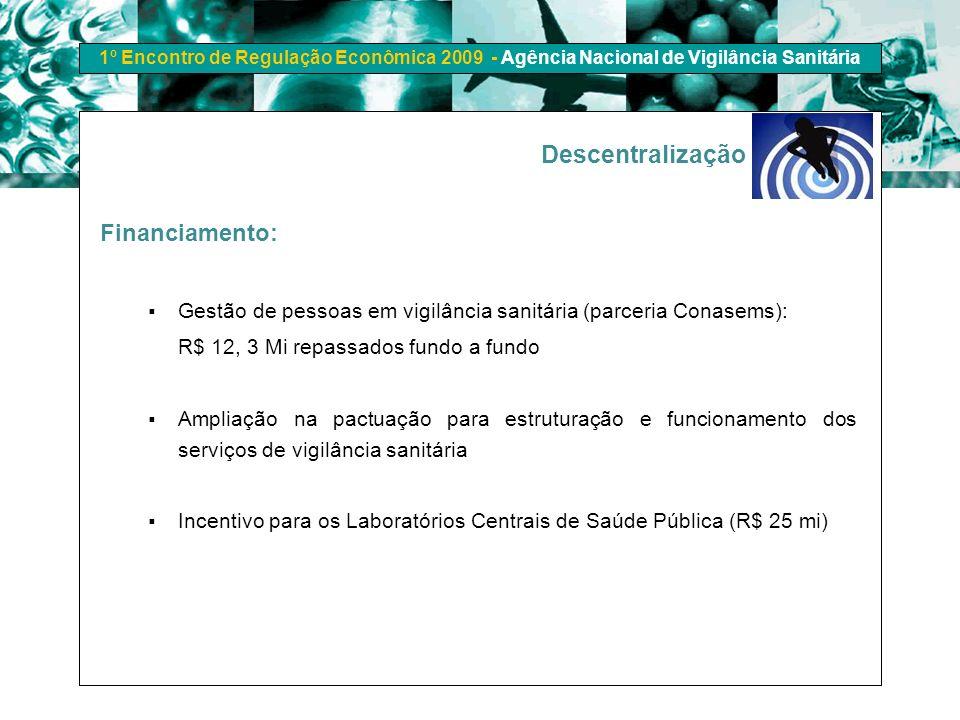 1º Encontro de Regulação Econômica 2009 - Agência Nacional de Vigilância Sanitária Financiamento: Gestão de pessoas em vigilância sanitária (parceria