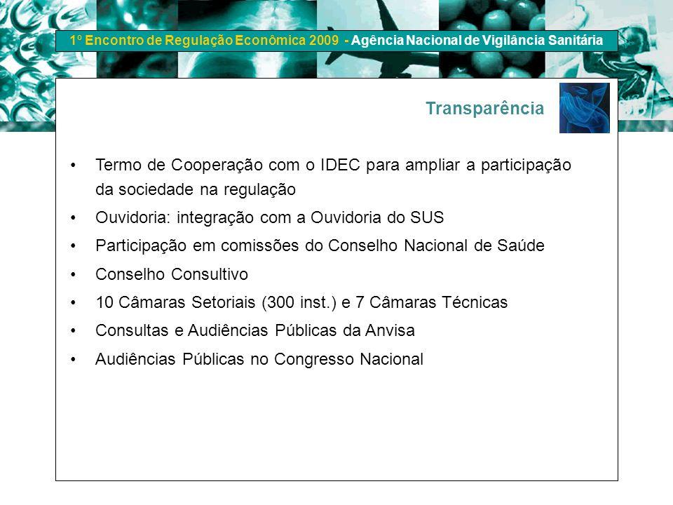 1º Encontro de Regulação Econômica 2009 - Agência Nacional de Vigilância Sanitária Transparência Termo de Cooperação com o IDEC para ampliar a partici