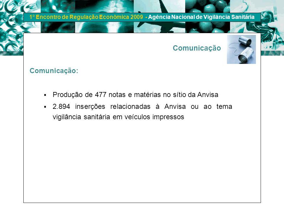 1º Encontro de Regulação Econômica 2009 - Agência Nacional de Vigilância Sanitária Comunicação: Produção de 477 notas e matérias no sítio da Anvisa 2.